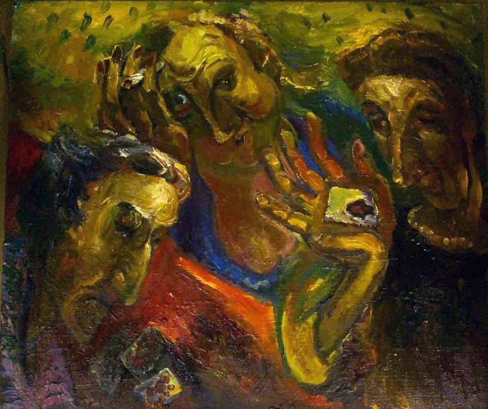 """Natalya Moiseeva """"Card game"""", oil on canvas 55*40, 2015"""