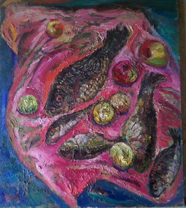 Natalya Moiseeva 'Still Life with 4 fishes' oil on canvas 80*70, 2015
