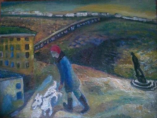 """Natalya Moiseeva """"City on the Volga"""" oil on canvas, 2015, 60 * 70"""