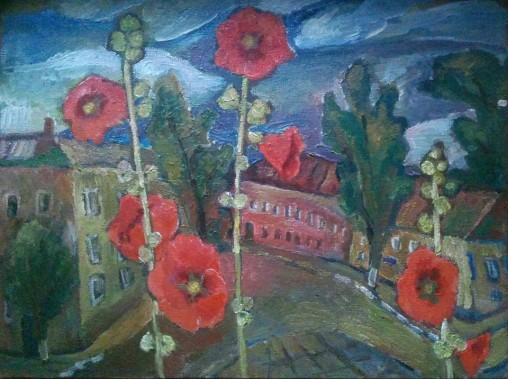 "Natalya Moiseeva ""Malvy"", oil on canvas, 70 x 60, 2015"