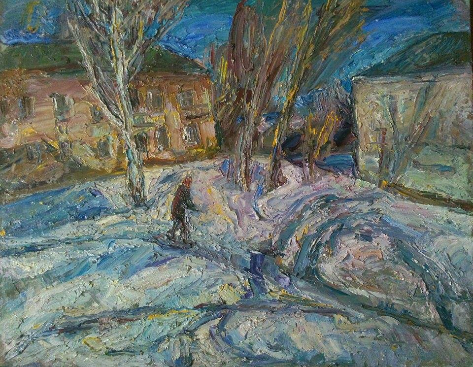 Natalya Moiseeva 'February roads', oil on canvas, 70 * 80cm, 2016