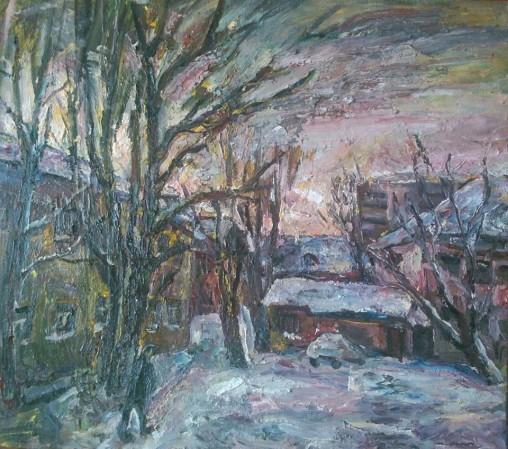 """Natalya Moiseeva """"January evening"""", oil on canvas, 90 * 80, 2016"""