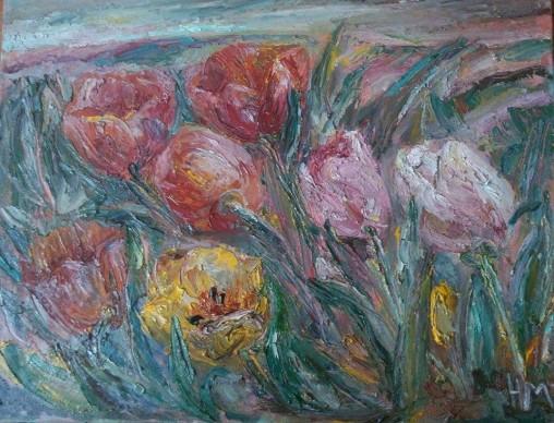 """Natalya Moiseeva - """"Pink Wind"""" - oil on canvas, 80 * 90, 2016"""