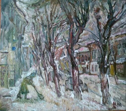"""Natalya Moiseeva - """"Snowing"""", oil on canvas, 80-90, 2016"""
