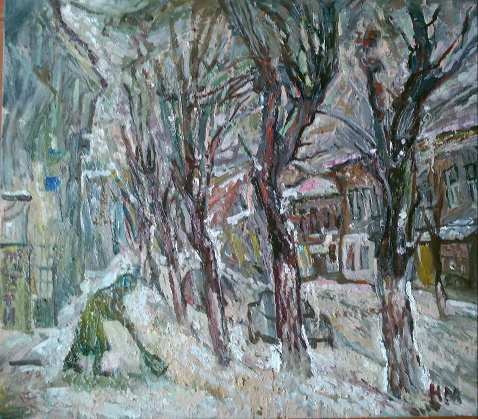 "Natalya Moiseeva - ""Snowing"", oil on canvas, 80-90, 2016"
