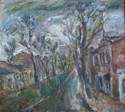 """Natalya Moiseeva - """"Spring rain"""", oil on canvas, 90 * 80, 2016"""