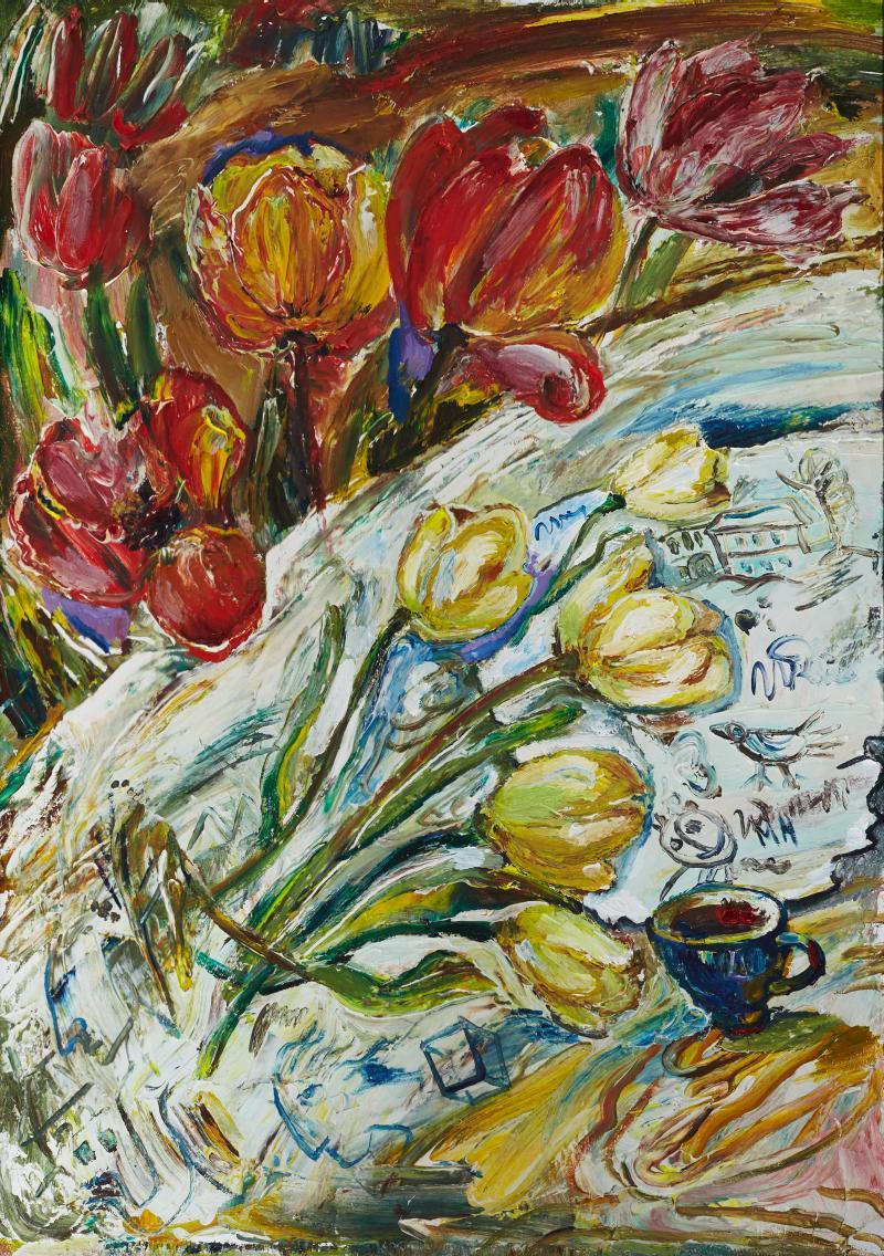 """Наталья Моисеева """"Тюльпаны"""", 2012г., х.м., 100х70"""