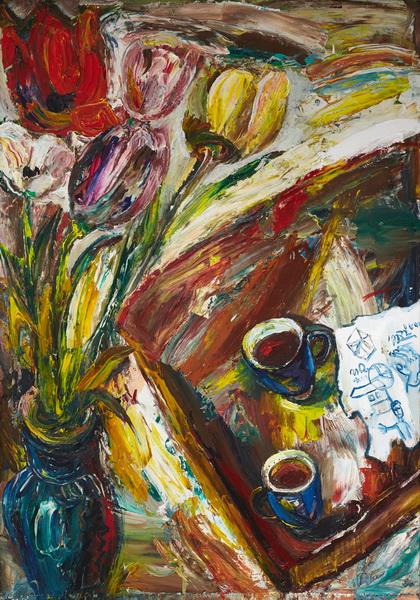 """Наталья Моисеева """"Утренний кофе"""". 2012г., х.м., 100х70"""
