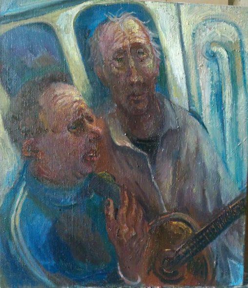 "Наталья Моисеева ""Музыка в метро"", 90*80, холст, масло, 2016"