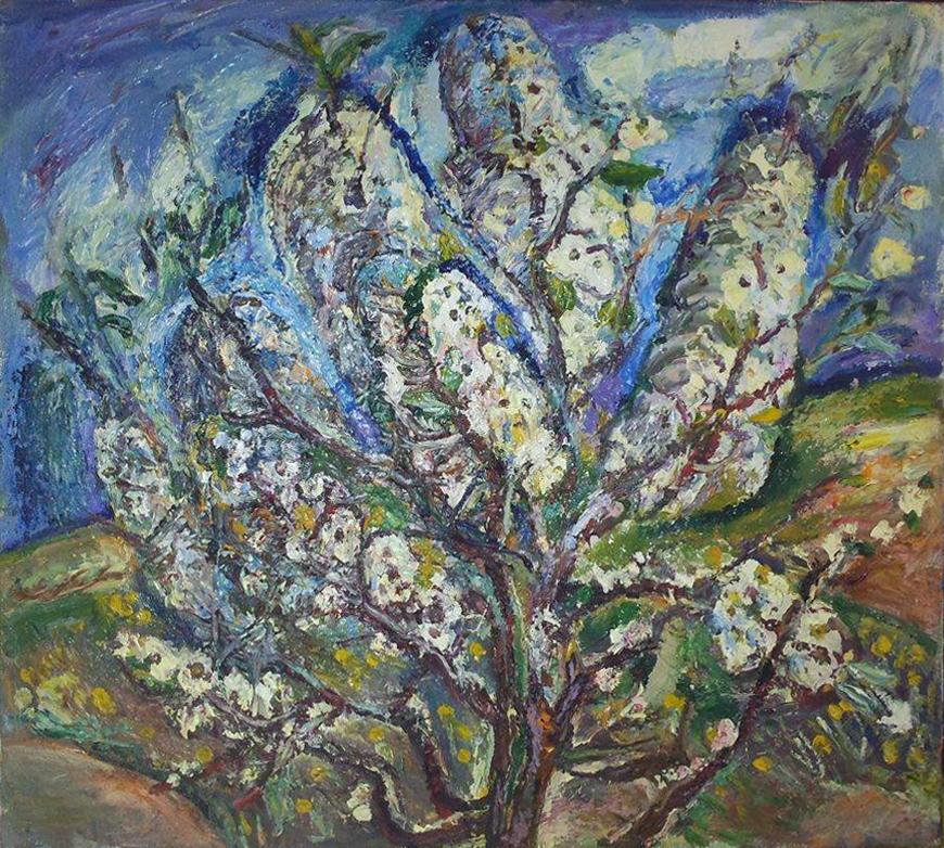 """Наталья Моисеева """"Цветущее дерево"""", холст, масло, 80-90"""